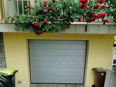 Srebrna sekcijska garažna vrata - ena črta